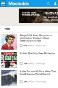 Mobile Mashable Site